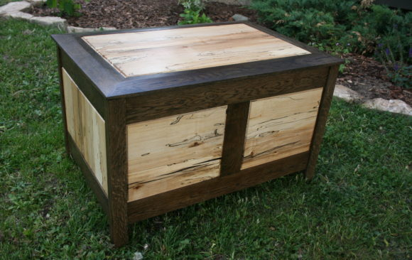 Ebonized oak and spalted maple chest