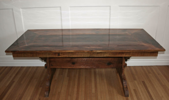 Pine harvest table made from 150 year old threshing floor boards
