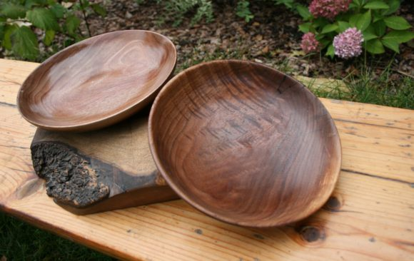 Shallow figured walnut bowls