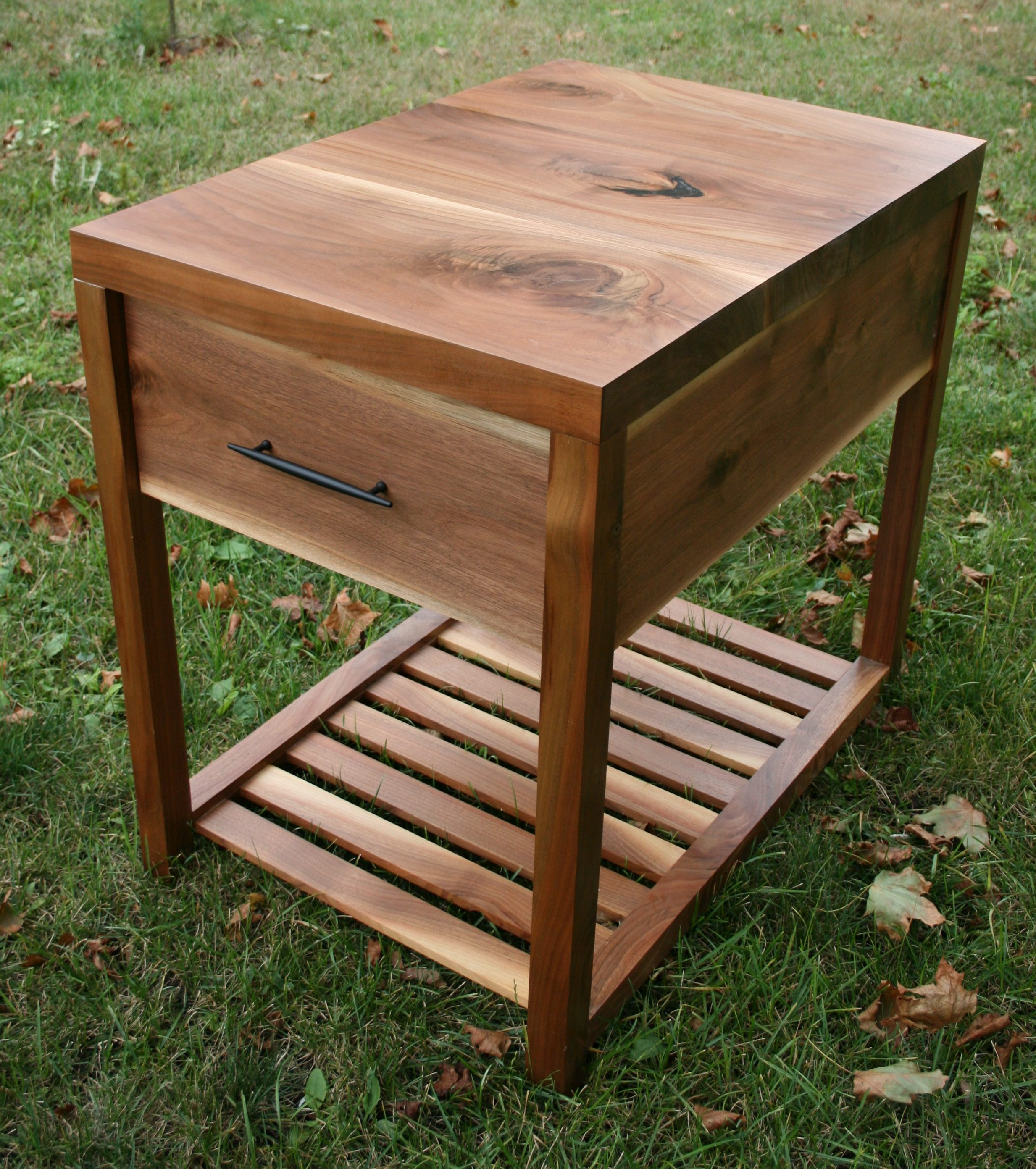 second nature wood walnut side table