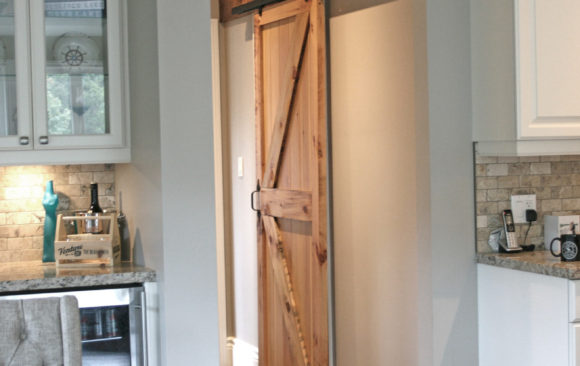 Barn style door made from century old reclaimed pine