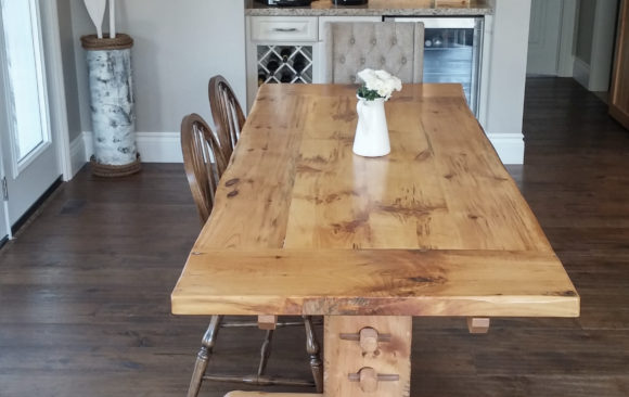 Harvest table made from century old reclaimed pine
