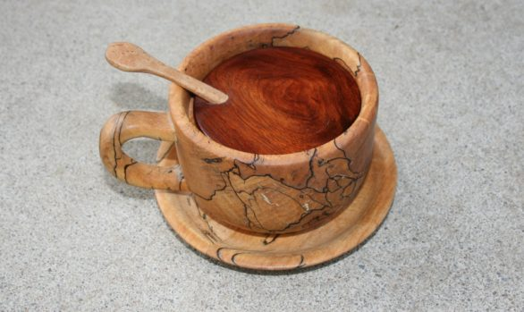 Spalted maple tea cup