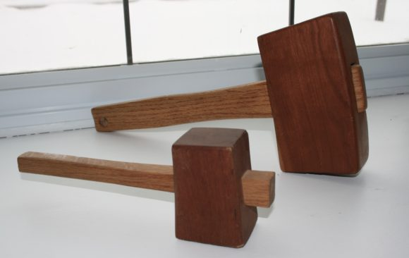 Oak and cherry woodworkers mallets