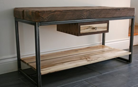 Hemlock and wormy maple tv stand