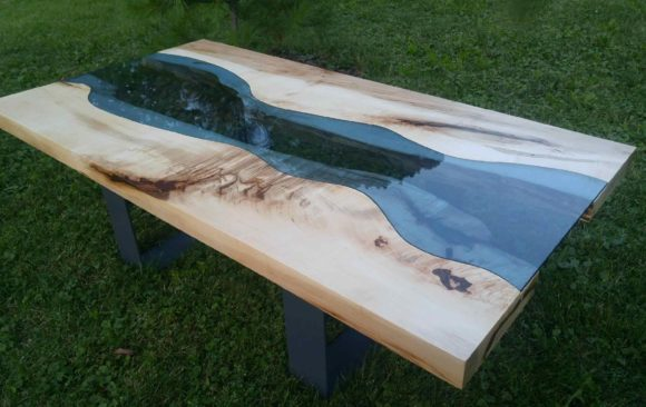 Figured maple river table